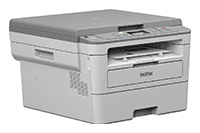 Brother DCP-B7250DW mono laser 3-in-1 printer facing right with output