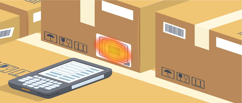 Grafik zeigt Paket mit einem RFID Tag, das von einem mobilen Scanner erfasst wird