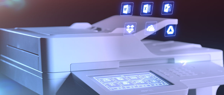 Multifunktionsdrucker mit Display und App Icons