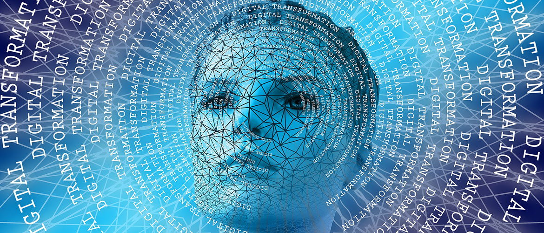 Animierter Avatar umkreist von Datennetzen.