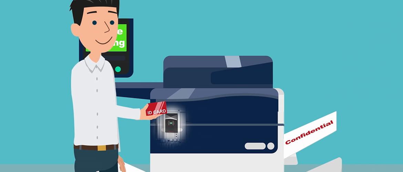 Grafische Darstellung einer Person, die sich mit ID Karte an einem Drucker authentifiziert.