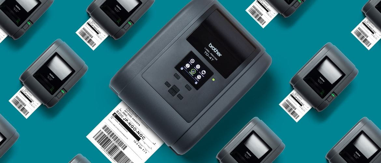 Draufsicht auf Brother TD-4T Thermotransfer-Desktop-Etikettendrucker