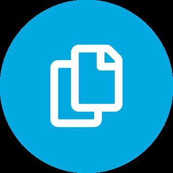 Weißes, flexibles Mediensymbol auf blauem Hintergrund