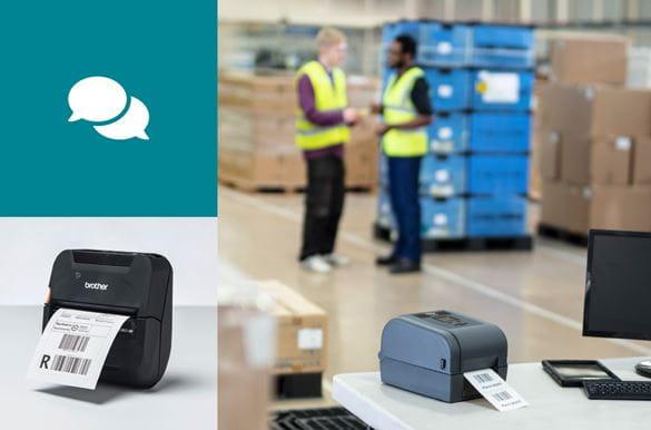 Zwei Logistikmitarbeiter im Gespräch, Mobiler Brother RJ-Drucker, Ansicht von vorn, Sprechblasen