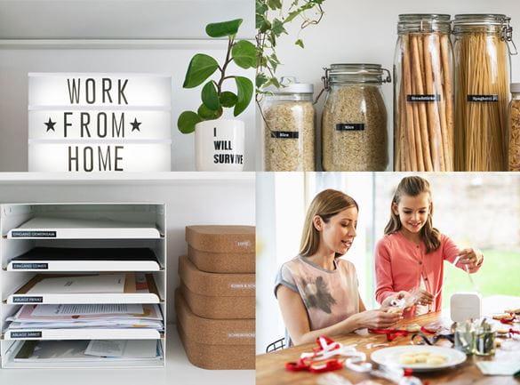 Anwendungsbilder, Dokumentenablage mit Leuchtschild Work from Home darüber, Mutter und Kind basteln mit CUBE, beschriftete Gläser