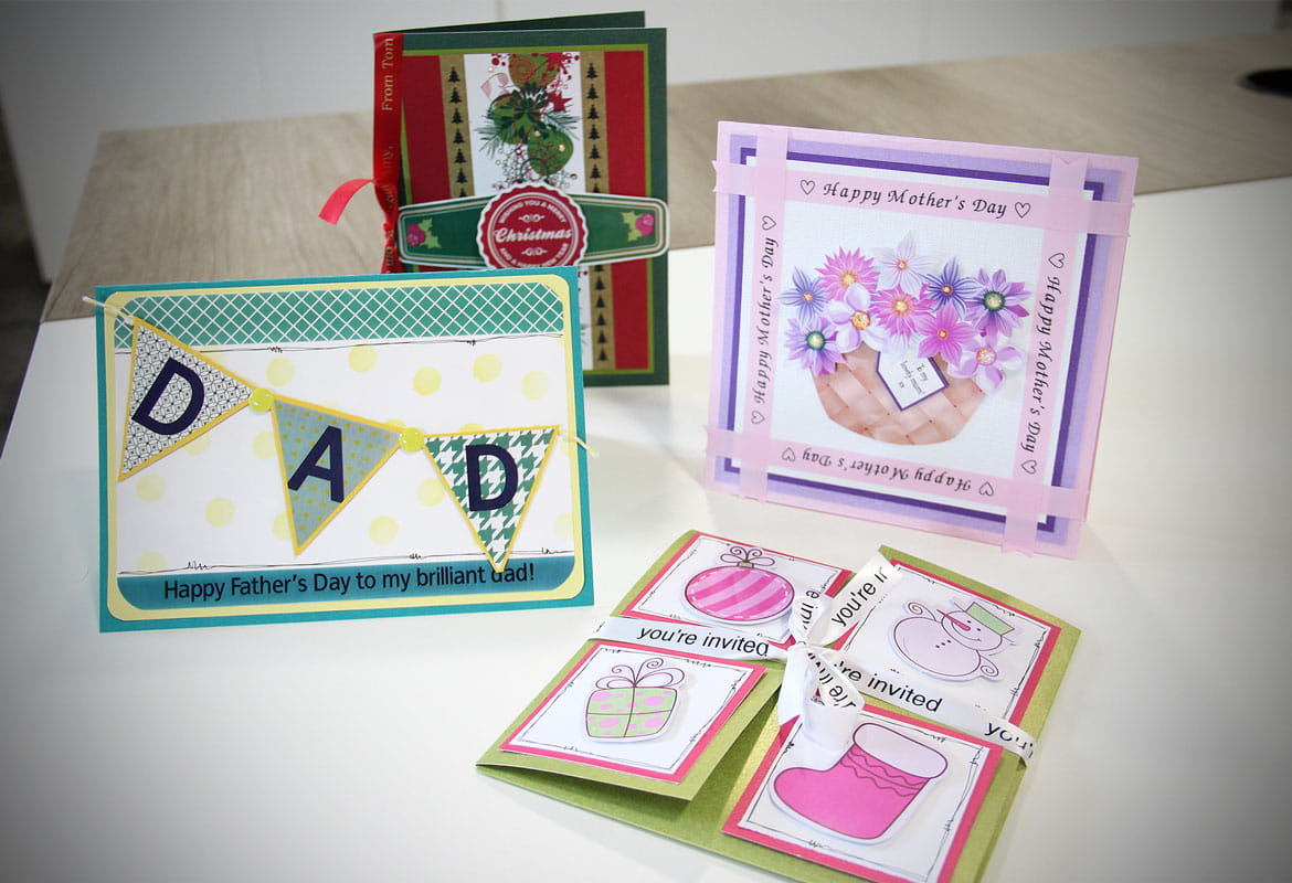 Various cards created using the Brother full colour label printer and P-touch label and ribbon printers
