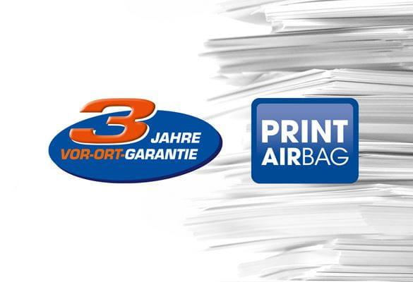 PRINT AirBag und 3 Jahre Vor-Ort-Garantie