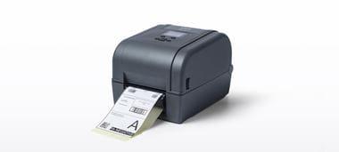 Brother RFID Drucker der TD-4T Serie, Ansicht von vorn, mit Ausdruck