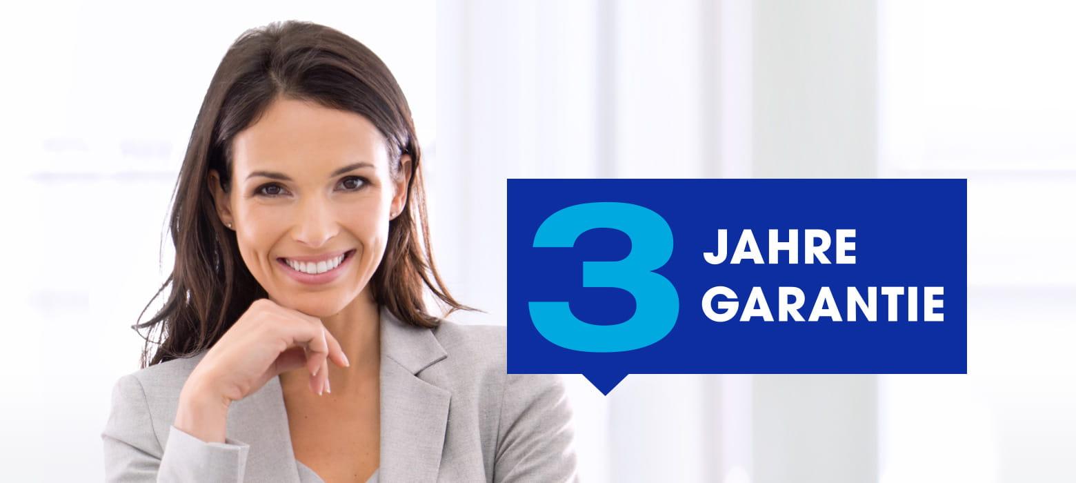 Brother 3-Jahre-Garantie-Logo mit Frau, lächelnd