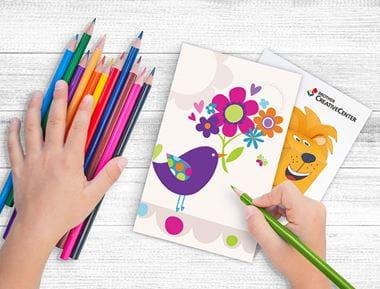 Buntstifte und Papier Vorlage Creative-Center