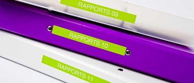 Archivadores con etiquetas verdes