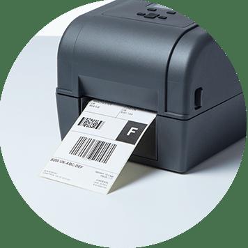 Detalle etiqueta impresora transferencia termal Brother