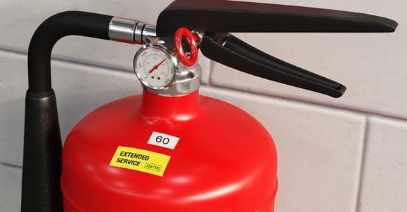 Extintor de incendios con etiqueta amarilla Brother