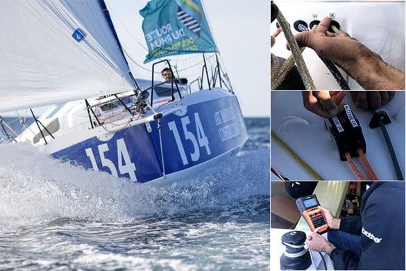 Barco navegando a la izquierda y 3 ejemplos de cintas Brother en condiciones extremas a la derecha