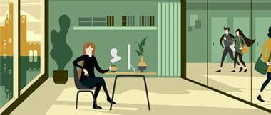 Office of the future image depicting the physical feel of the workplace environment with an animated style showing a business woman at her desk