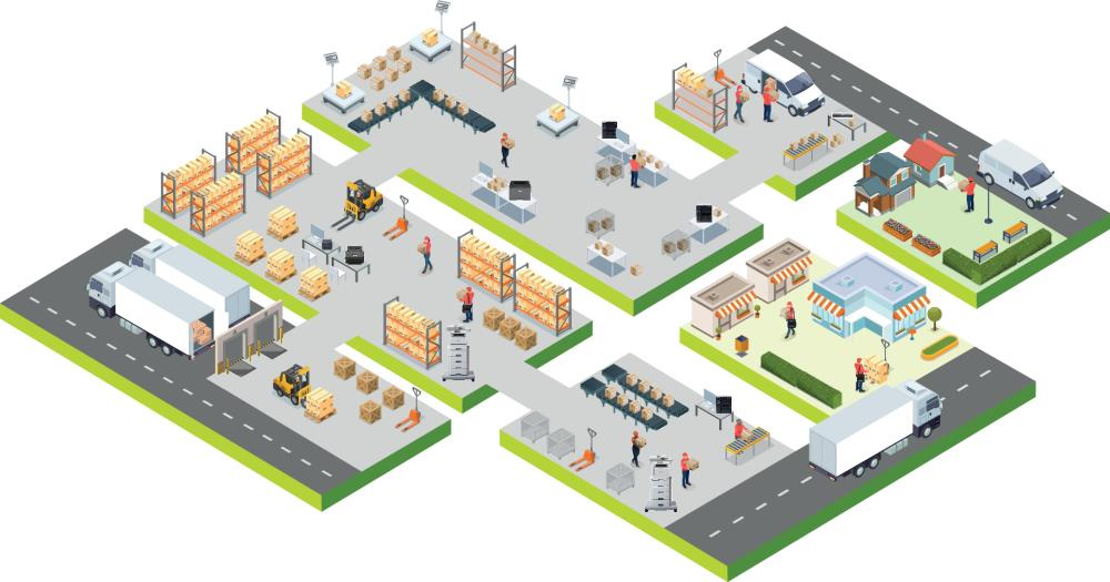 Illustrated transportation and logistics schematic showing delivery, fulfillment and customer interactions across retail, warehouse, delivery, back office and parcel sorting office touchpoints