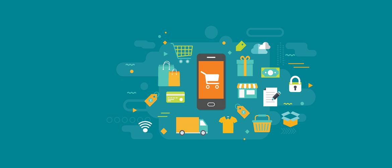 Blågrønn bakgrunn med ikon av en mobiltelefon med handlekurvikon og ikoner rundt mobiltelefonen