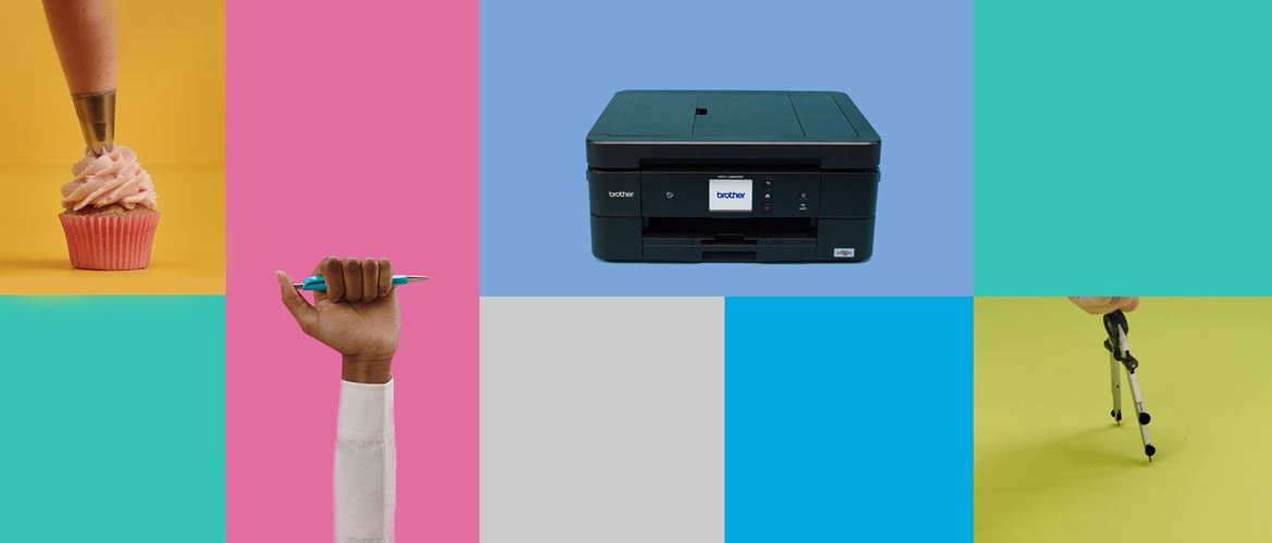 Cupcake pen printer and paint on colour background
