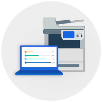 Printer surrounded by laptop icon, document icon, file icon, network icon