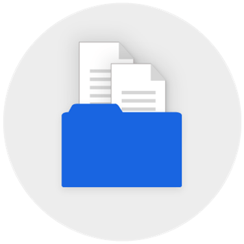 Document in the centre surrounded by cloud icon, people icon, document icon, laptop icon, network icon, folder icon