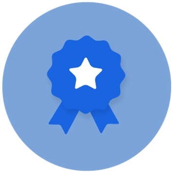 Icon of blue award badge with white star in a blue circle