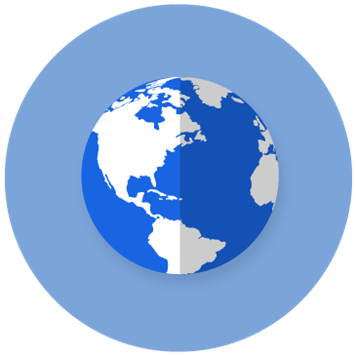 Icon of globe in blue on a blue circle background