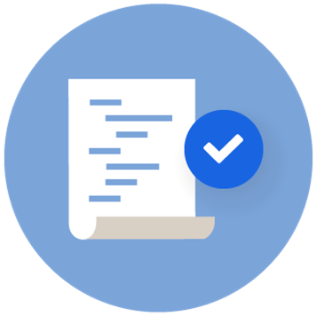Icon of paper with writing with a tick on a blue circle background