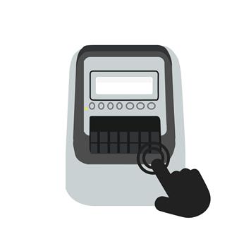 Ikon av en hånd som trykker på knappen på en Brother QL etikettskriver