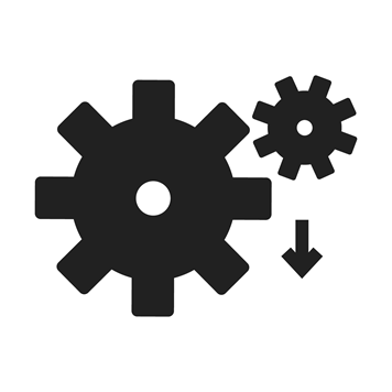 Cogs with a download arrow