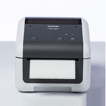 Brother TD-4D desktop label printer with blank label