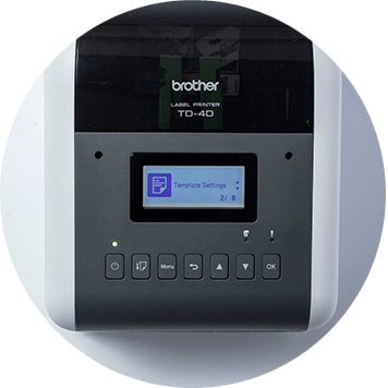 Brother TD-4D desktop label printer screen top down
