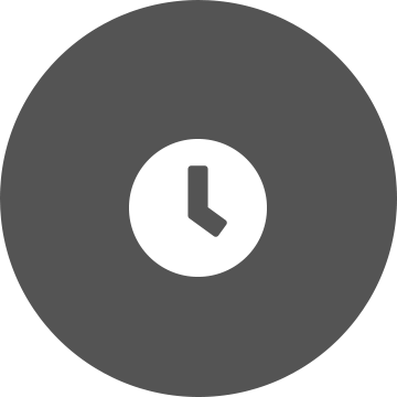 White clock on a grey circle background