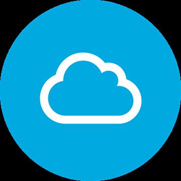 Baltas debesies simbolis mėlyname fone