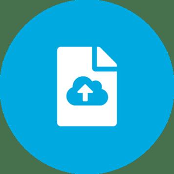 White digitisation symbol on a blue background