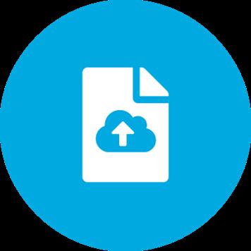 Ikon for digitalisering på blå bakgrunn