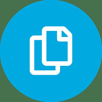 White flexible media symbol on a blue background