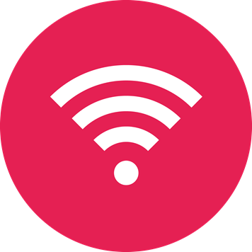White wireless symbol on a crimson background
