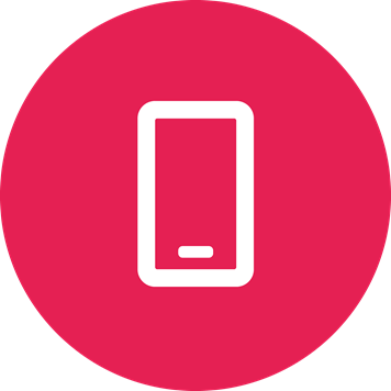 White mobile symbol on a crimson background