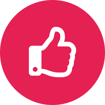 White thumbs up symbol on a crimson background