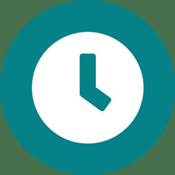 Ikona bijelog sata na plavoj pozadini