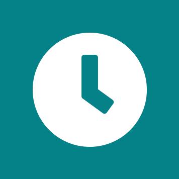 Biela ikona hodín na pozadí sivozeleného kruhu