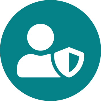 White person and shield icon on teal circle background