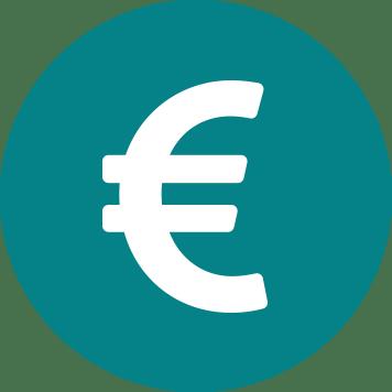 Biely znak Euro na pozadí sivozeleného kruhu