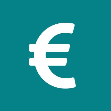 Bijela ikona eura na plavoj pozadini