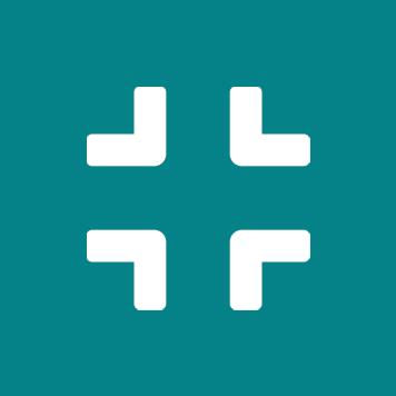 Biała ikona kompresu w turkusowym kółku