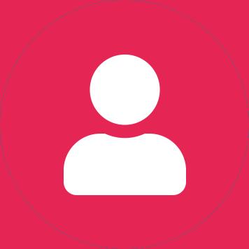 Bílá ikona uživatele v červeném kruhu