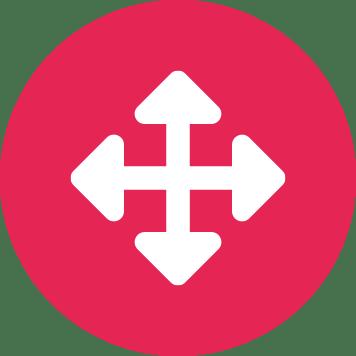 Štyri biele šípky smerujúce na sever, východ, juh a západ v ružovom kruhu