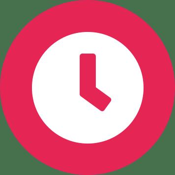 Pictogramă ceas alb pe un cerc roz