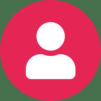 Bijela ikona korisnika na okrugloj ružičastoj pozadini