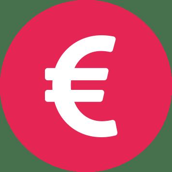 Biela ikona eura v ružovom kruhu